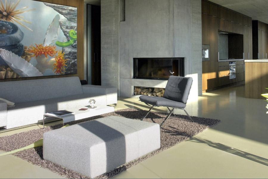 Woonkamer betonvloer afwerkingen voor elke winkel in