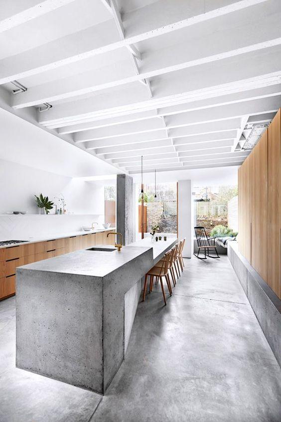betonnen tafel en wasbak